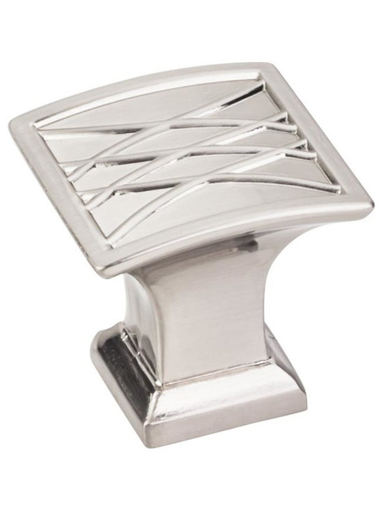Jeffrey Alexander 535SN Cabinet Knob - Aberdeen Series - Satin Nickel Finish - 1 - This satin nickel finish square cabinet knob with crossed line design is a part of the Aberdeen Series from Jeffrey Alexander. A perfect blend of craftmanship in traditional and contemporary design to complement any decor.