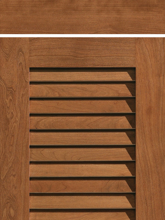 """Dura Supreme Cabinetry - Dura Supreme Cabinetry Louvered Door Cabinet Door Style - Dura Supreme Cabinetry """"Louvered Door"""" cabinet door style in Cherry shown with Dura Supreme's """"Clove"""" stained finish."""
