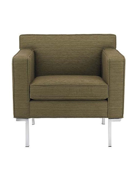 Design Within Reach - Theatre Armchair - Modern sofas often tout minimalist appeal, but few can also claim the comfort of Ted Boerner's Theatre Collection (2001). The Sofa, Two-Seater Sofa and Armchair are all designed to accommodate the human body with studied proportions and simple geometry. The result is comfort that stems from its form, rather than excessive layers of stuffing and upholstery. The gentle angling of the backrest, full seat depth, and elevated armrests are eminently suited to living rooms or reception areas. Boerner's signature artisan details are evident throughout these handcrafted pieces. A gleaming chromed steel base runs the entire depth of the design, and welted seams lend strength and definition to the upholstery. Made in U.S.A.