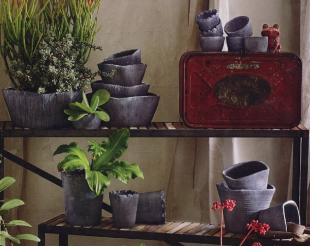 Vesuvio Striated Square Pots contemporary indoor pots and planters