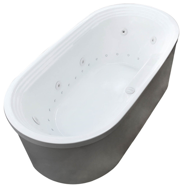 Lucien 34 x 67 Oval Freestanding Air & Whirlpool Jetted Bathtub w ...