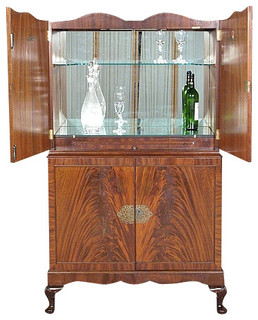 Consigned Vintage English Flame Mahogany Cocktail Bar Liquor Cabinet - Traditional - Wine And ...
