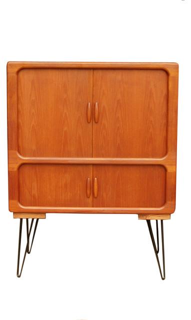 Mid Century Modern Teak Cabinet With Tambour Doors By Dyrlund midcentury