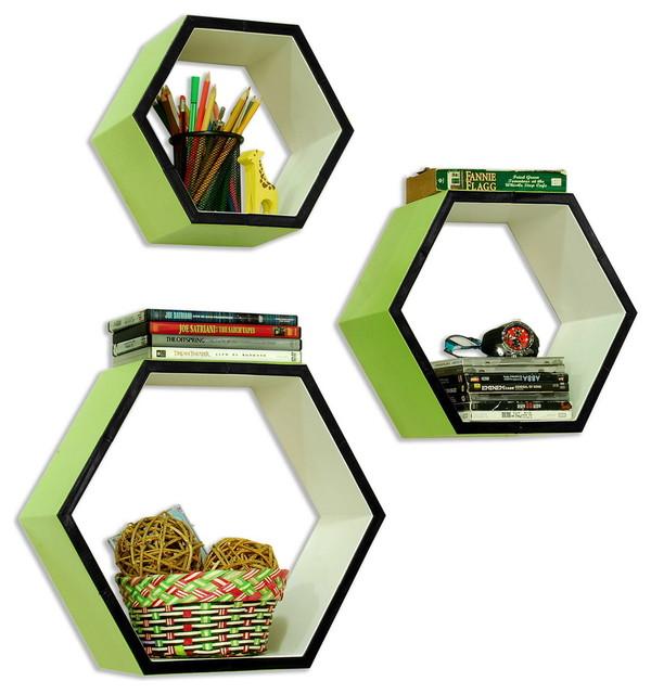 [Little Grass]Hexagon Leather Wall Shelf / Bookshelf / Floating Shelf (Set of 3) contemporary-wall-shelves