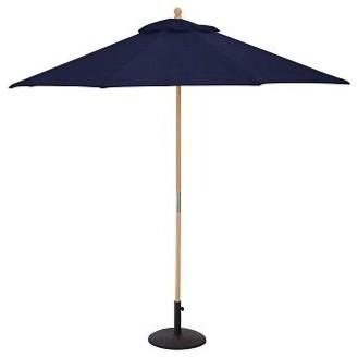 Round Market Umbrella with Teak Pole, 9', Sunbrella(R) Solid, Navy traditional-outdoor-umbrellas