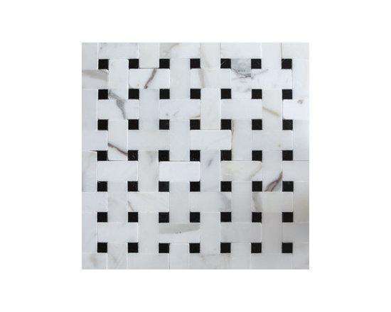 Statuary White & Black Basketweave Natural Stone Mosaic -