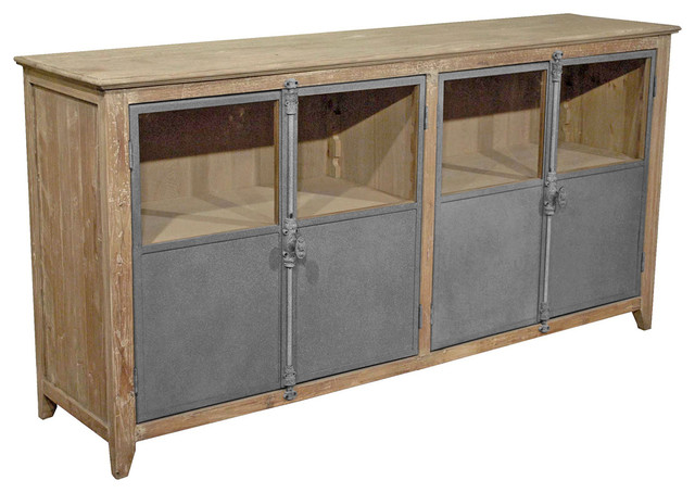 Chaucer Industrial Loft Limed Wood and Metal Sideboard Storage Cabinet - Transitional - Buffets ...