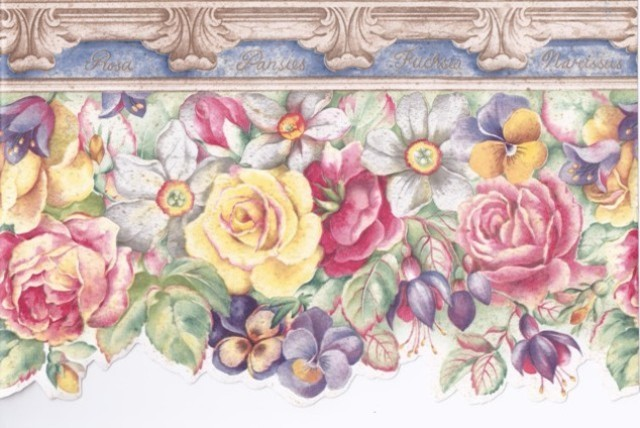 Cream Stone Blue Yellow Red Floral Wallpaper Border traditional-wallpaper