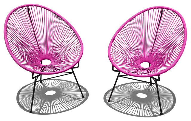 Acapulco 2 Piece Lounge Chair Set Hot Pink Eclectic