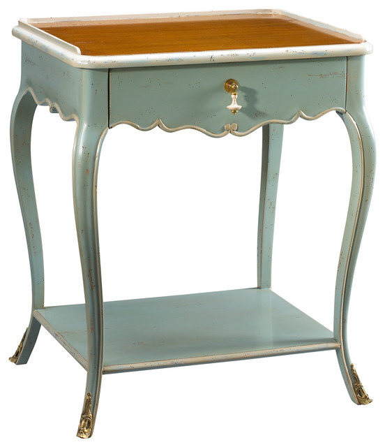 Sade french country cherry wood light blue nightstand for French nightstand bedside table