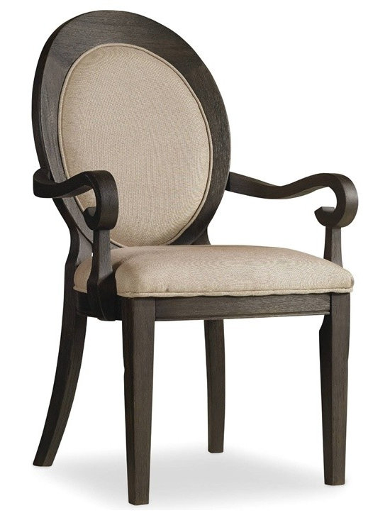 Hooker Furniture - Corsica Oval Back Chair - Set of 2 - Dark - Arm - White glove, in-home delivery!  For this item, additional shipping fee will apply.  Like the Mediterranean island for which it is named, Corsica is a melting pot of timeless design influences with a sun washed ambience and casual attitude.  Gracefully shaped architectural forms of Italian, French and Belgian origin are accentuated by a wire brushed artisan finish with a reclaimed character.  Set of two chairs.  Fabric seat and back.