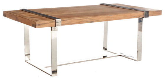 Natural Wood And Chrome Coffee Table Traditional Coffee Tables By Wisteria