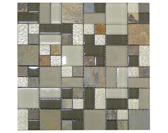 W11 Grey Smoke Quartzstone Modular Glass Mosaic tile