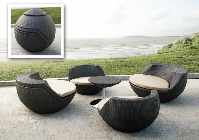 Ovum modern egg shaped patio set contemporary outdoor for Contemporary patio furniture