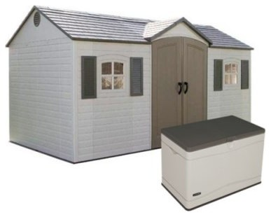 Lifetime 15 x 8 ft. Outdoor Garden Shed with Free 80 Gallon Storage Box modern-sheds