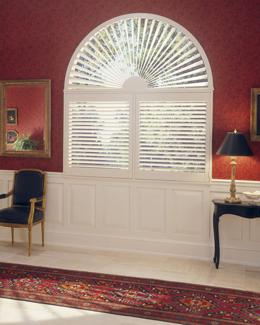 2 Panel Shutters With Invisible Tilt And Sunburst Arch Top