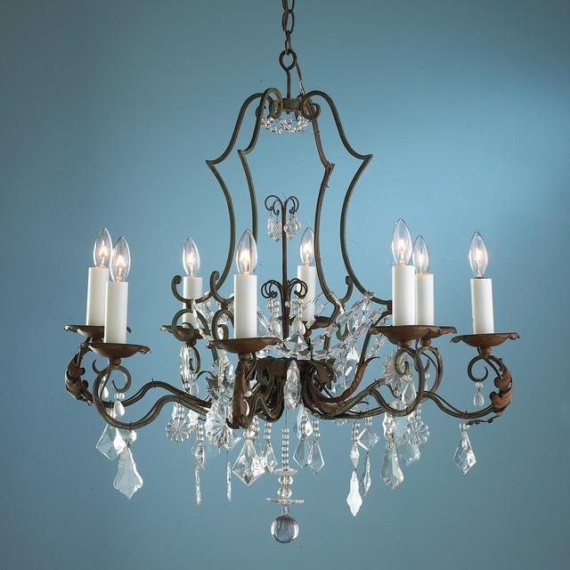 Antique 8 light Verde Bronze and Pear Crystal Chandelier chandeliers