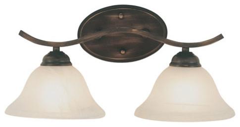 Energy Saving Pine Arch Rubbed Oil Bronze Two-Light Bath Fixture contemporary-bathroom-vanity-lighting