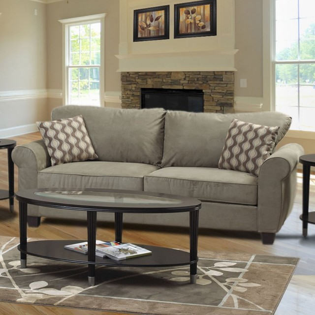 Traditional Sofa Pillows : Welton Celeron Gray Microfiber Sofa with Accent Pillows - Traditional - Sofas - by Hayneedle