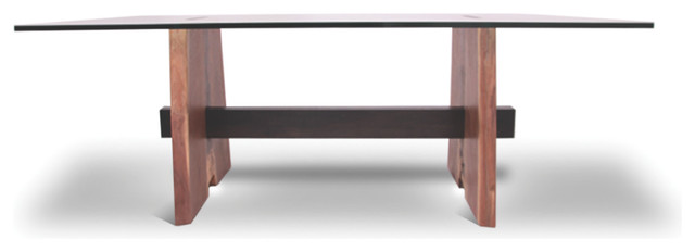 Walnut Base Dining Table Glass Top Contemporary Dining Tables Miami