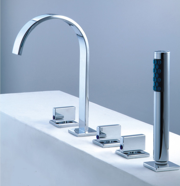 Tub Fixtures : Roman Tub Faucet With Hand Shower For 5-Hole Tub contemporary-bathroom ...