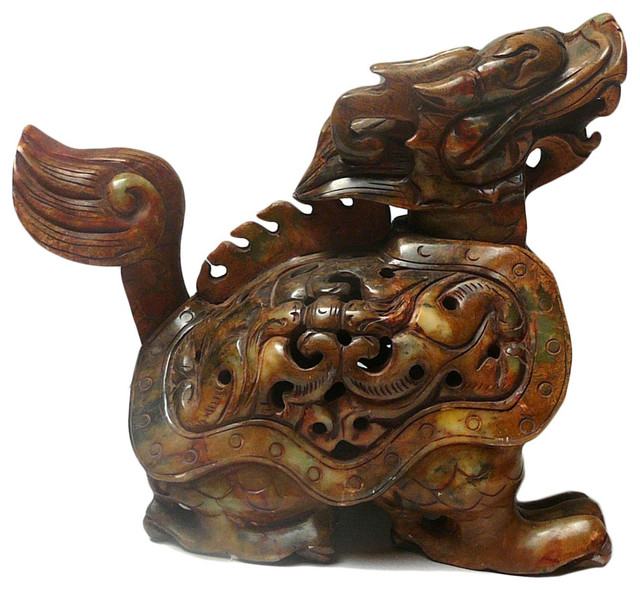 Chinese Oriental Jade Stone Carved Dragon Turtle Figure - Asian - Sculptures - by Golden Lotus ...