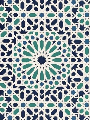 "Schumacher ""Nasrid Palace Mosaic - Aegean"" (5005960) mediterranean-wallpaper"