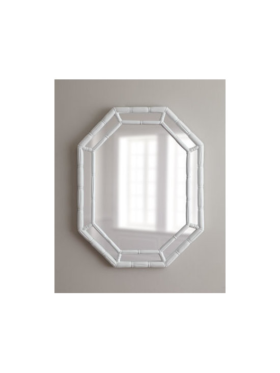 """Horchow - White Octagonal Mirror - Bamboo texturing adds dimension and visual appeal to this octagonal mirror. Resin frame. High-gloss white finish. Hooks on back for hanging. 25.5""""W x 3""""D x 33""""T. Imported."""