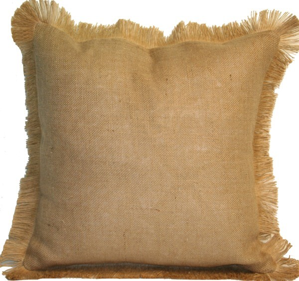 #06 Natural Burlap w/Jute Fringe Pillow: Beach Decor, Coastal Home Decor, Nautic pillows