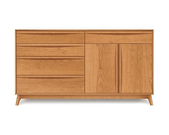 Copeland Furniture - Catalina Cherry Five-Drawer/Two-Door Buffet | Copeland Furniture - Handcrafted in Vermont by Copeland Furniture.The mid-century inspired Catalina Cherry Five-Drawer/Two-Door Buffer offers plenty of storage for the modern dining room. This modernist buffet is divided with four drawers on one side and 1-drawer over a 2-door cabinet on the other. The drawers and doors feature soft-close hardware and sleek integrated pulls that run the length of each one. The cabinet area offers adjustable shelving while all drawers feature asymmetrical English dovetail joinery and fully finished interiors. Located above the two-door cabinet, a designated drawer provides tarnish-free, separated storage for silverware. Hand-crafted with impeccable quality and attention to detail, this buffet is bound to last through generations of use and enjoyment. Copeland Furniture uses sustainably harvested hardwoods from the American Northern Forest. All lumber used by Copeland Furniture comes from within 500 miles of their factory in Vermont, thus reducing fossil fuel consumption and carbon dioxide emissions from transportation. The environmental values of preservation and stewardship are reflected in every piece of furniture produced by Copeland Furniture.  Product Features:  Solid wood Five drawers and one cabinet Select right or left orientation for the cabinet and drawers Designated, sectioned silverware drawer Silverware drawer lined with Guardian Anti Tarnish lining and cloth English dovetail joinery drawers Fully finished and sanded drawer interiors Under-mounted soft-close drawer slides Integrated drawer and door pulls Adjustable shelves Soft-close door hinges Optional hutch available Made in the U.S.A.