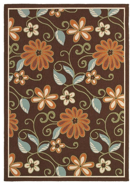Contemporary Indoor/Outdoor Area Rug: LR Resources Rugs Lanai Chocolate and contemporary-outdoor-rugs