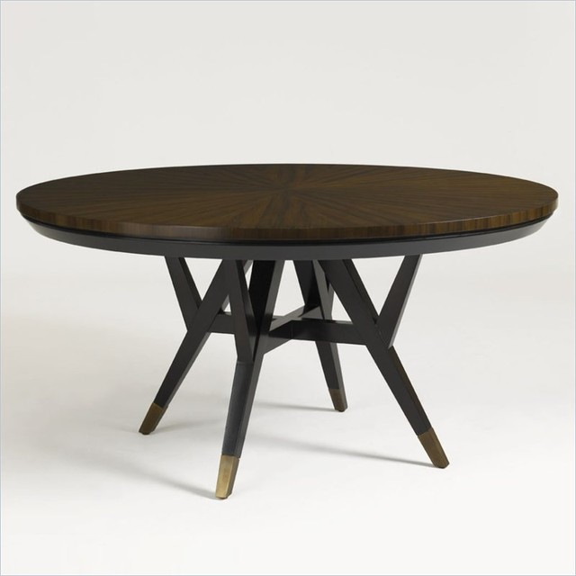 Round Dining Table In Walnut Finish Contemporary Dining Tables