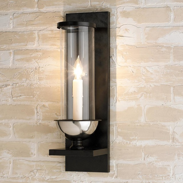 Bronze and clear glass cylinder wall sconce wall sconces by shades of light - Cylindrical wall sconce ...