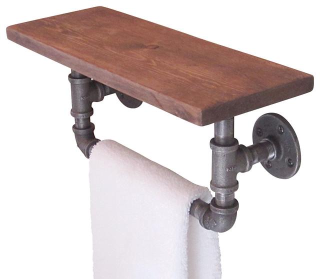 Industrial Pipe Hand Towel Shelf - Industrial - Towel Bars And Hooks - by Industrial Home Bazaar