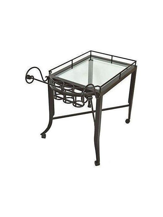 """Pre-owned Kreiss Montoro Patio Serving Cart - A Kreiss """"Montoro"""" patio serving cart, in a matte black that's been powder coated. This cart has never been used and is in perfect condition, with inset glass.    Please note, the seller also has the matching Montoro patio bar chairs, tables, a loveseat, and chaise loungers available. If you are interested in purchasing multiple pieces (or the set), please email: support@chairish.com."""