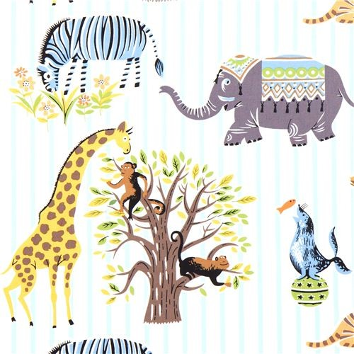 striped Michael Miller fabric Escapees with animals fabric