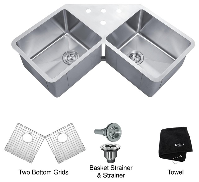 Undermount Corner Kitchen Sink : All Products / Kitchen / Kitchen Fixtures / Kitchen Sinks