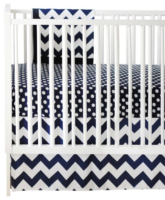 Chevron Zig Zag Baby Navy Crib Bedding Set 2-Piece by New Arrivals Inc. traditional-kids-bedding