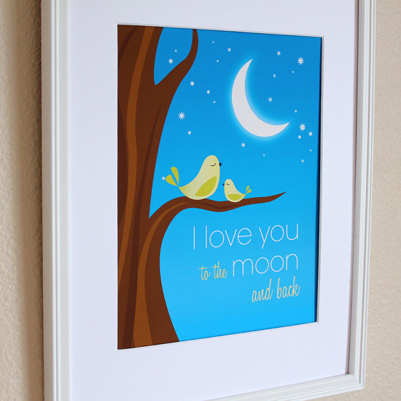 Boy Nursery Art I Love You to the Moon and Back by Hop Skip Jump Paper modern nursery decor