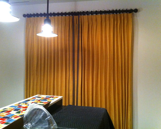 Drapery Ideas - Functioning Drapery Panels on wood poles with rings