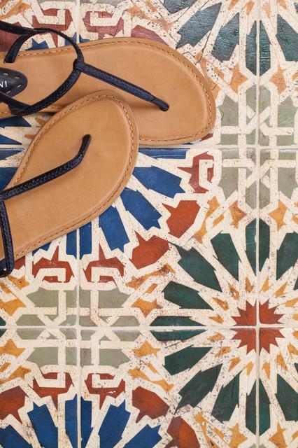 Encaustic tile floor-tiles