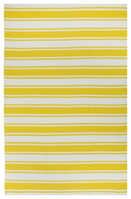 Lucky - Yellow & White Rug (5' x 8') contemporary-rugs