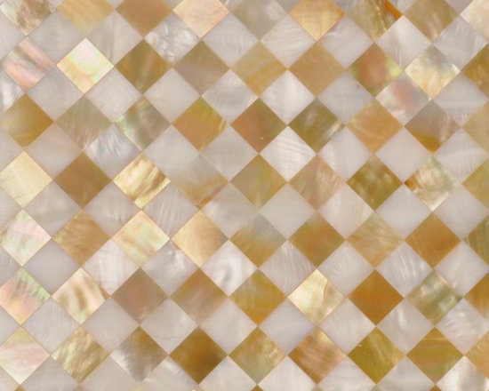Mixed white and gold shell mosaic tile backsplash tilles - visit www.dintin.com and contact us,we have complete range of natural mother of pearl mosaic tiles,also many designs have not been uploaded to houzz & our store,custom size and custom pattern welcome.worldwide shipping!