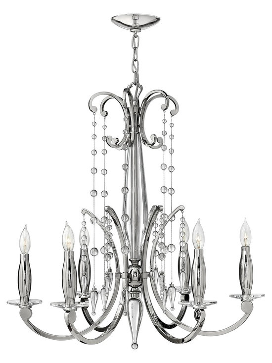 "Fredrick Ramond Alexandra 6-Light Mini Chandelier in Polished Nickel Finish - Fredrick Ramond Alexandra Collection Light Mini Chandelier features a Polished Nickel Finish and Delicate Crystal Embellishments. Dimensions: 29 1/2"" High by 28 1/2"" Wide."