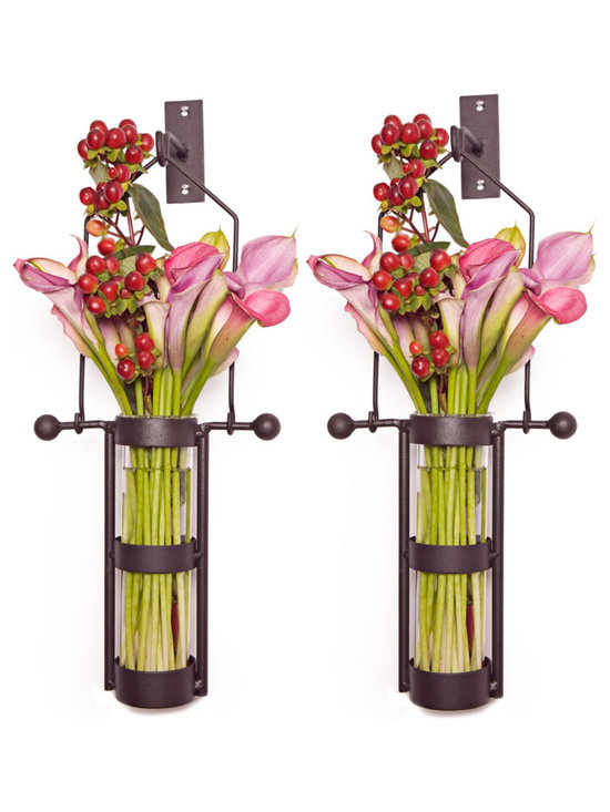 Danya B. - Wall-Mount Hanging Glass Cylinder Vases With Metal Cradle and Hook, Set of 2 - Free up your table space by hanging your flowers aloft, with these rustic metal mounted vase on your wall. This innovative design was expertly crafted from recycled glass and sturdy iron. This set of two wall sconce vases would work well flanking your sideboard, or outside on the patio.