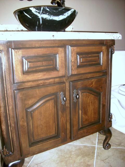 Custom furniture antique refinishing traditional - Custom bathroom vanities houston ...