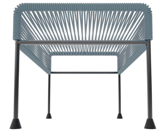 Adam Ottoman, Grey Weave On Black Frame - Sleek woven vinyl makes this coffee table stand out from the crowd. It's a great option for indoor or outdoor use since the vinyl is UV protected and the metal base is galvanized. The only challenge would be deciding on your favorite color combination.