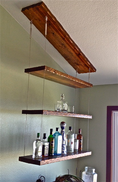 Suspended shelving transitional display and wall shelves other metro - Etagere suspendue cable plafond ...