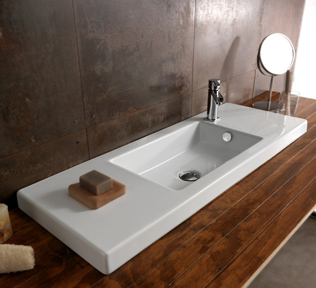 Rectangular White Ceramic Wall Mounted Vessel Or Built In Sink Contemporary Bathroom Sinks