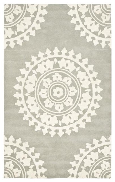 Handmade Soho Chrono Grey/Ivory New Zealand Wool Rug mediterranean-rugs
